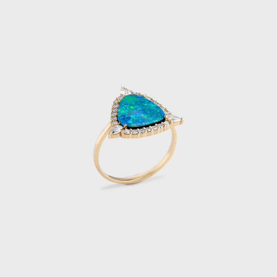 Trikon Opal and Diamond Ring