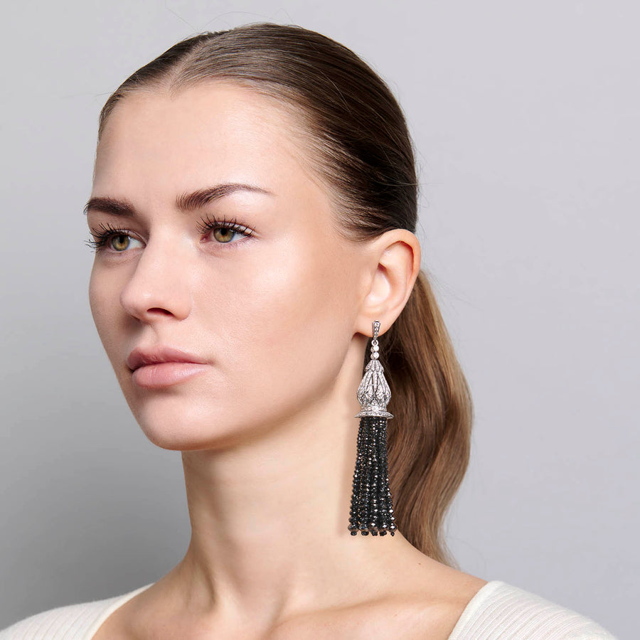 Black Diamond Tassel Earrings