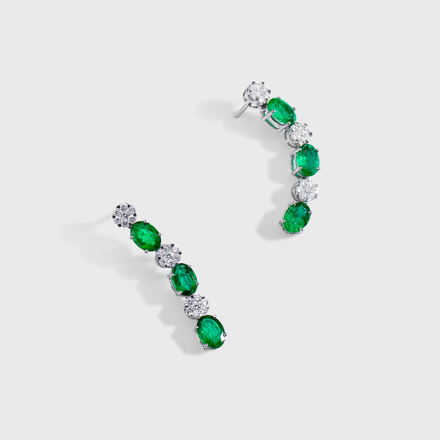 Ryka Emerald and Diamond Earrings