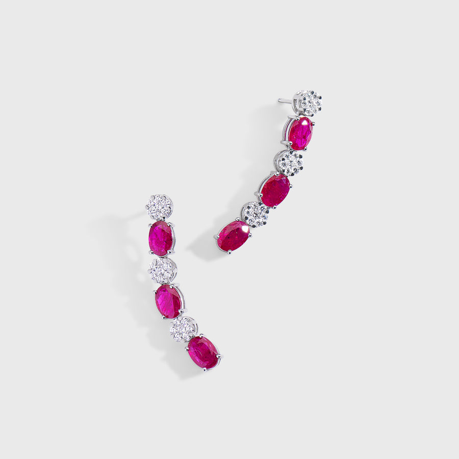Ryka Ruby and Diamond Earrings
