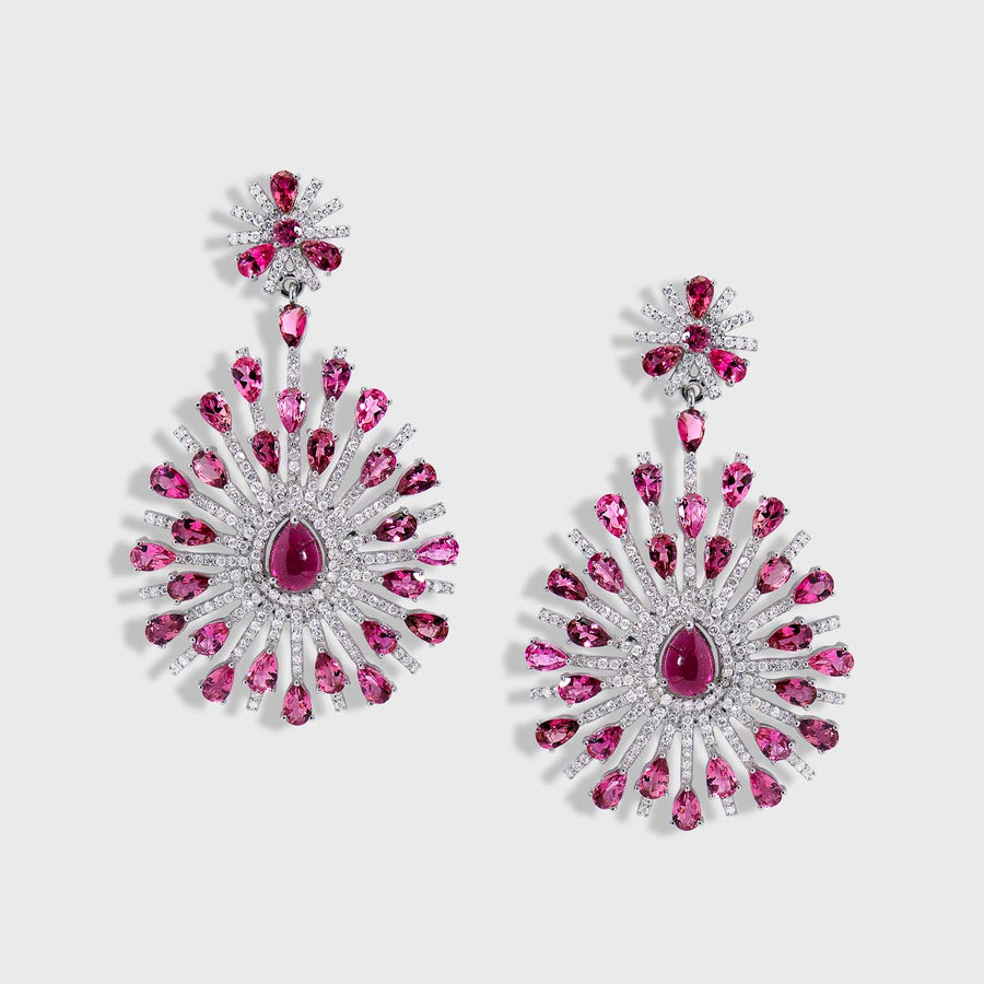 Visphota Tourmaline and Diamond Earrings