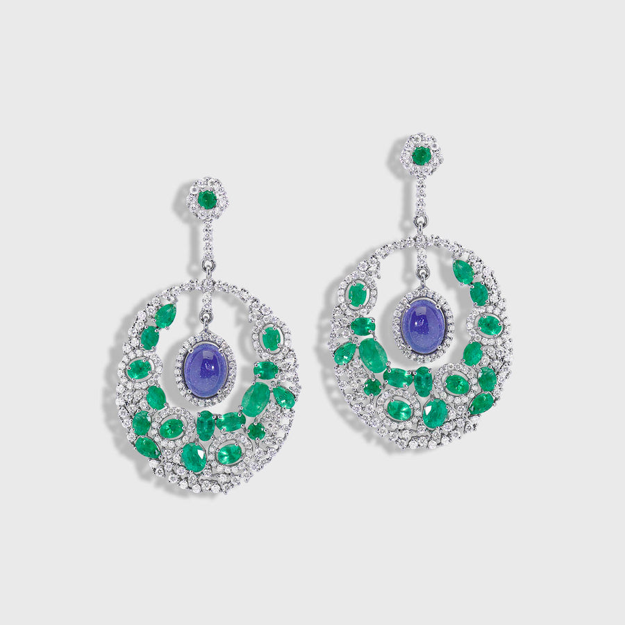 Mayura Emerald and Tanzanite Earrings