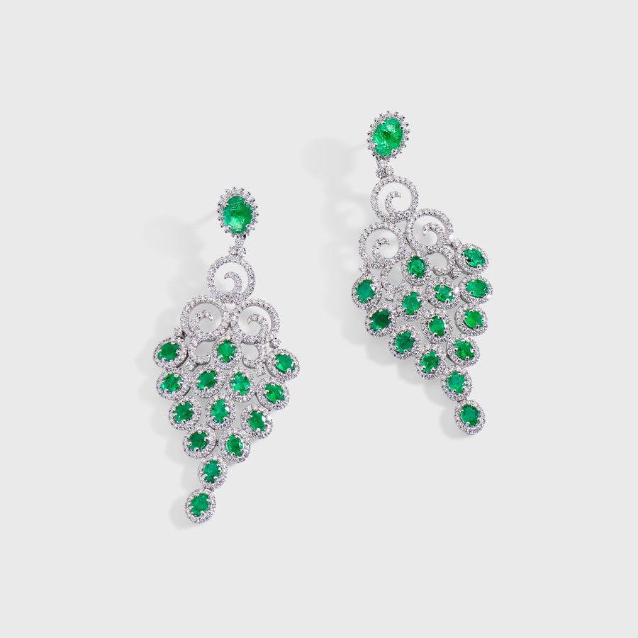 Tuhi Emerald and Diamond Earrings