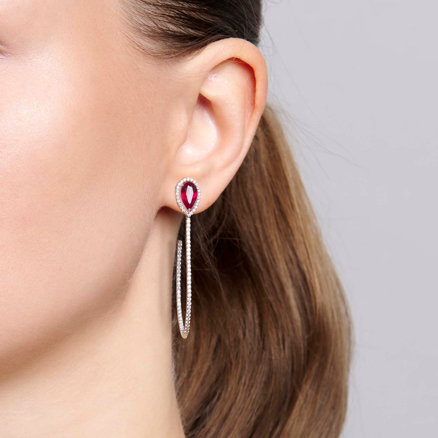 Yashi Ruby and Diamond Earrings