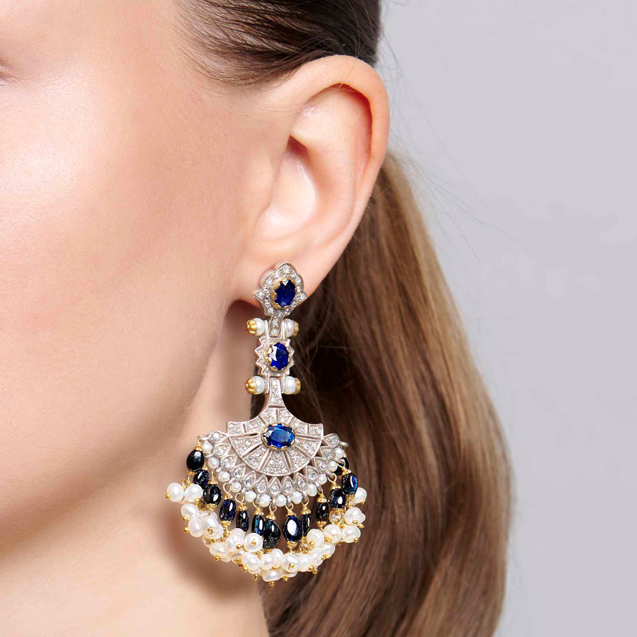 Sapphire Fan Earrings