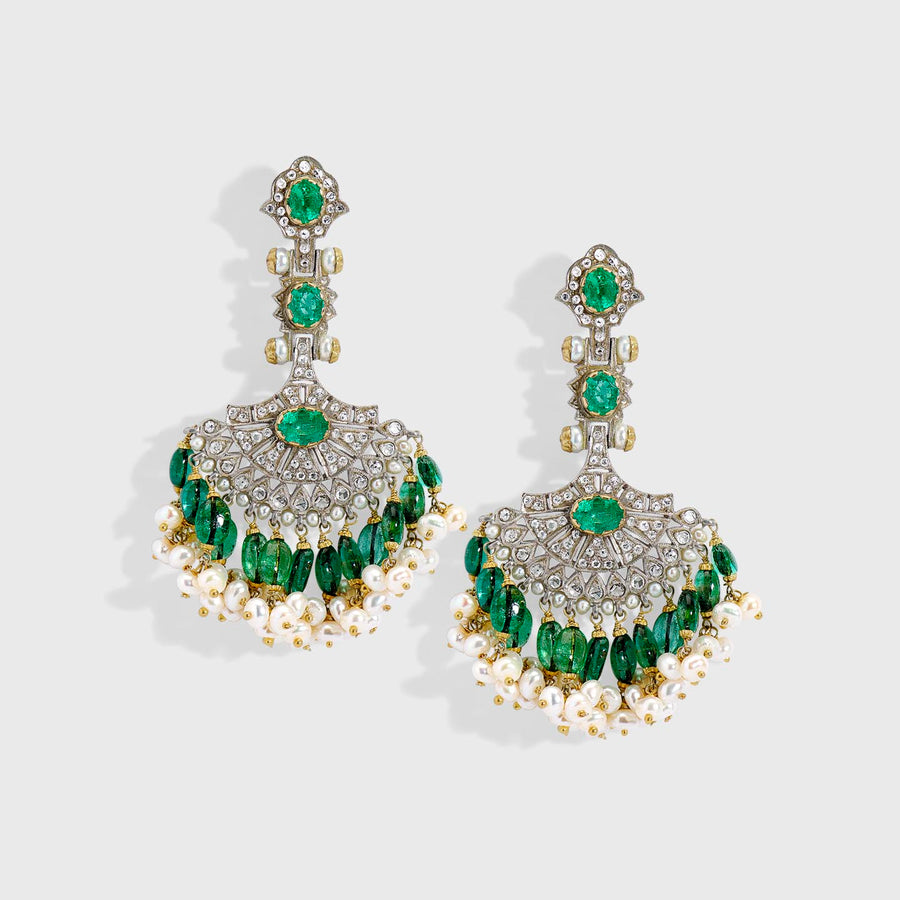 Emerald Fan Earrings