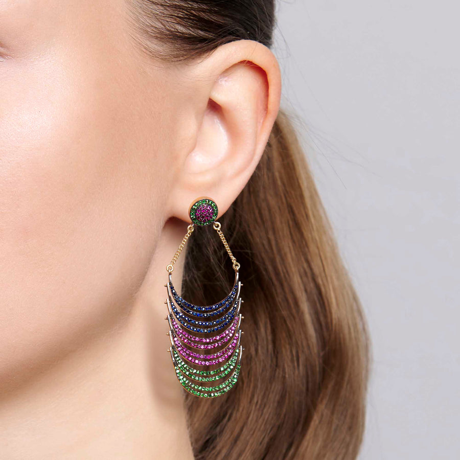 Omaja Sapphire, Ruby and Tsavorite Earrings