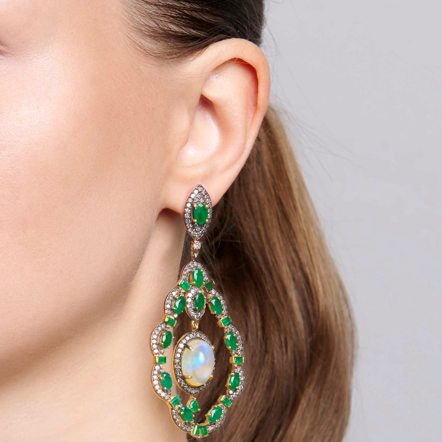 Umangi Emerald and Opal Earrings