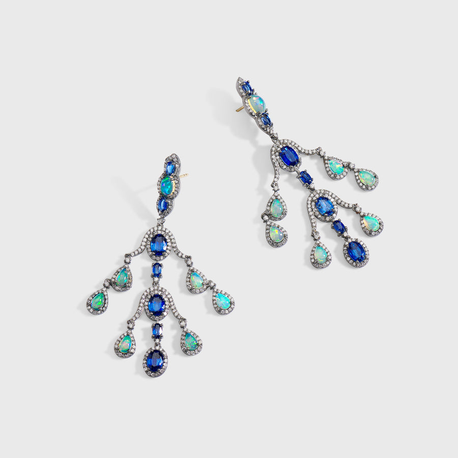 Aahaana Sapphire and Opal Earrings