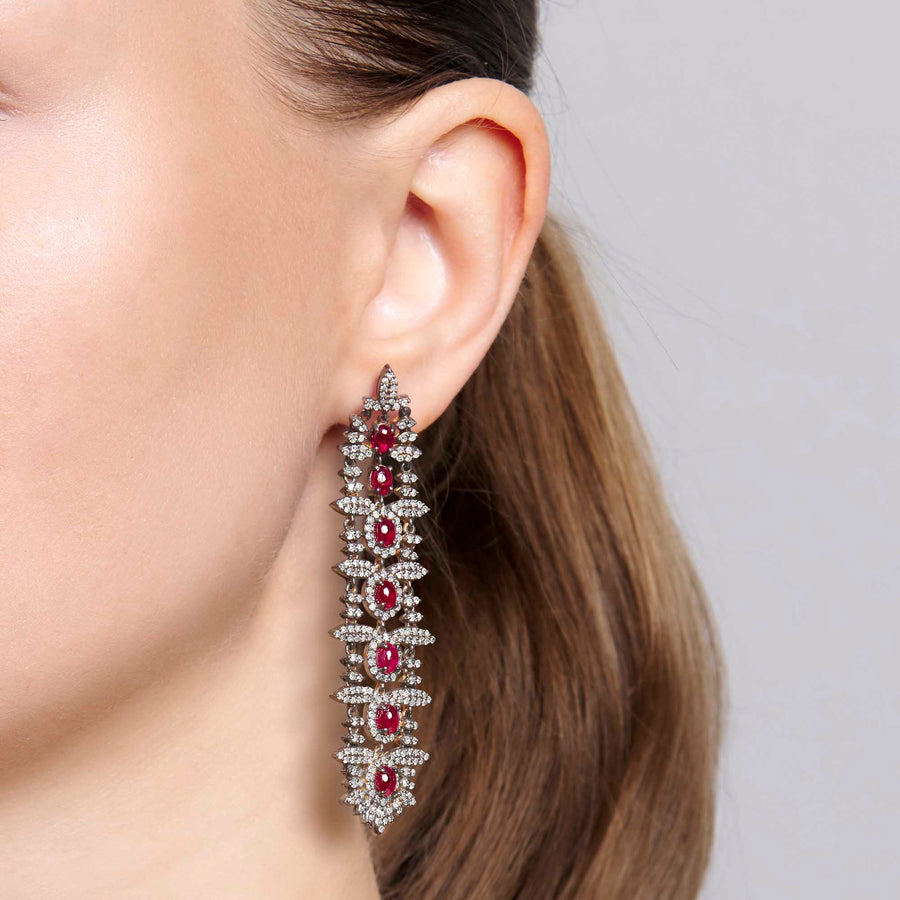 Bhaumi Ruby and Diamond Earrings