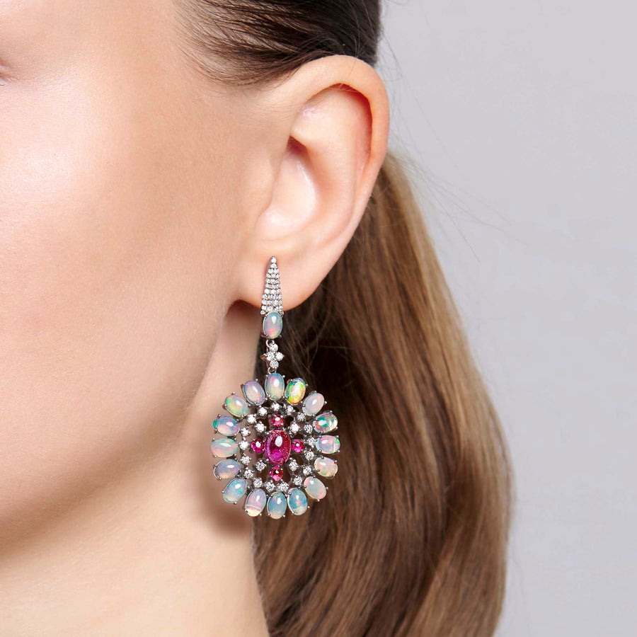 Gamini Tourmaline, Opal and Diamond Earrings