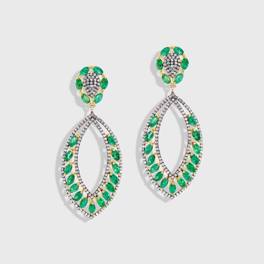 Trisha Emerald and Diamond Earrings