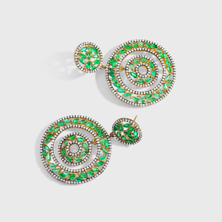 Elika Emerald and Diamond Earrings