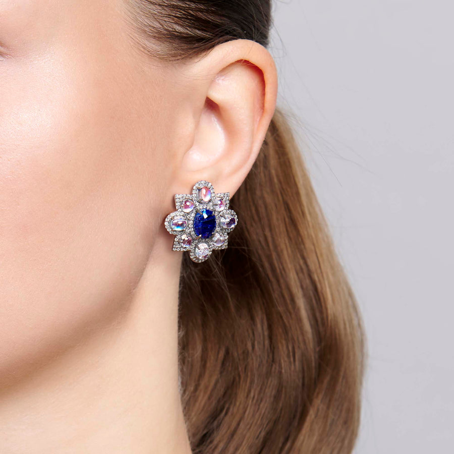 Jasweer Sapphire and Moonstone Earrings