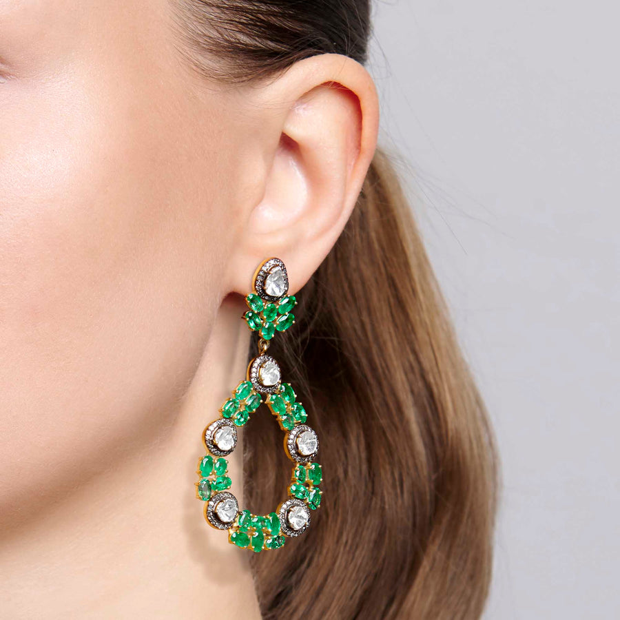Karishma Emerald and Diamond Earrings