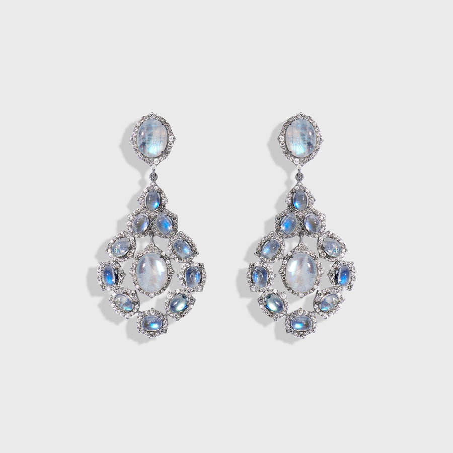 Megha Moonstone and Diamond Earrings