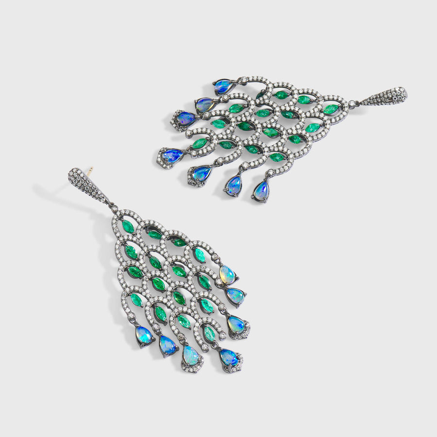 Panahi Emerald and Opal Earrings