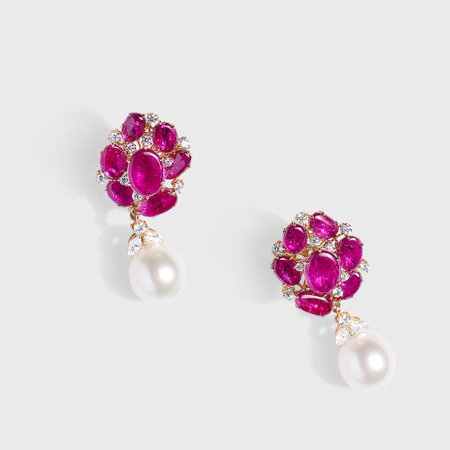 Darshini Rubies and Pearls Earrings