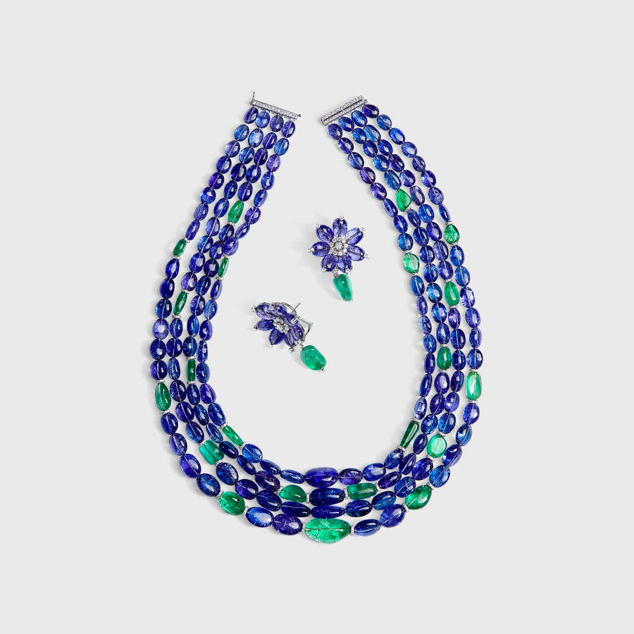 Udaya Tanzanite and Emeralds Set