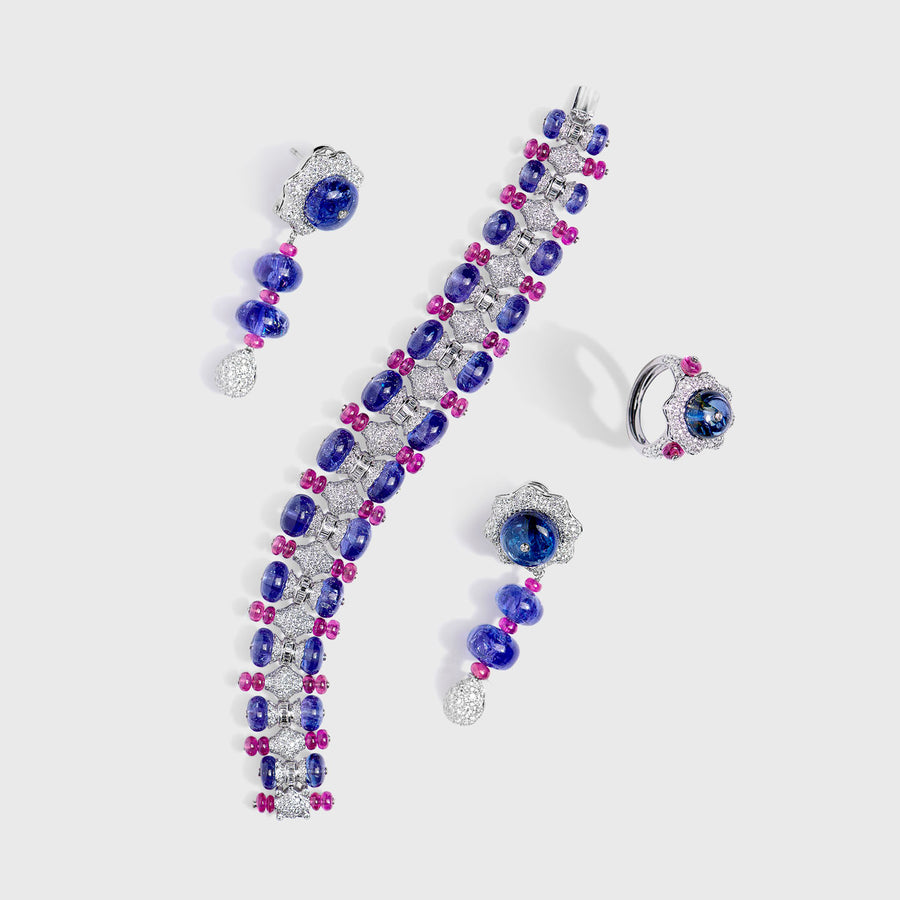 Jasmeet Tanzanite and Ruby Set