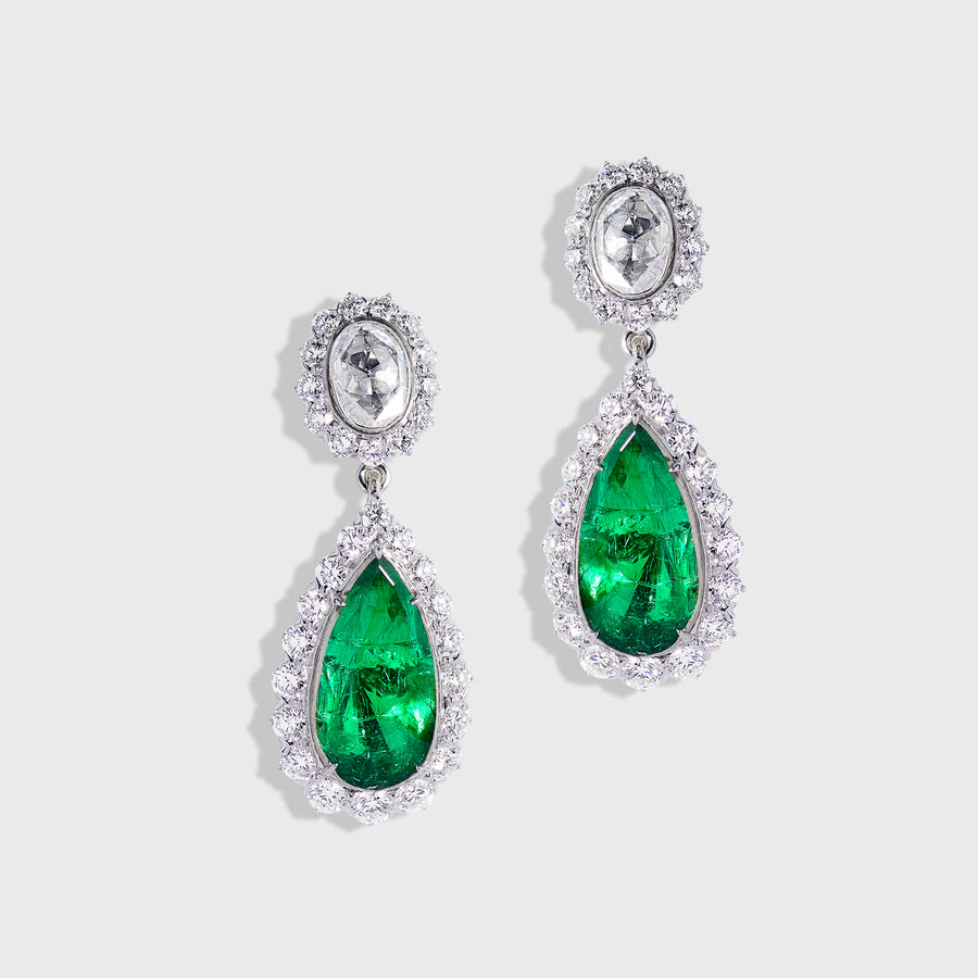 Kashika Emeralds and Diamonds Earrings
