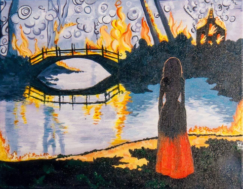 Woman Watching a Burning Bridge Painting