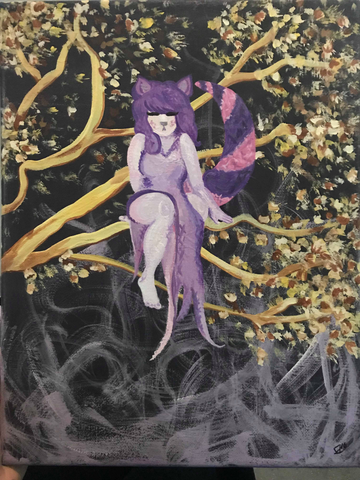 Cheshire Cat Woman in a Tree Painting