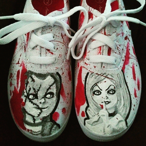 chucky and tiffany childs play custom painted shoes by bear elle