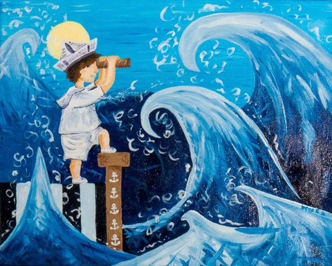 Boy Playing Make Believe Sailor Painting