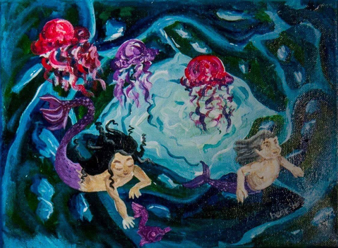 Baby Mermaids Swimming with Fish Painting
