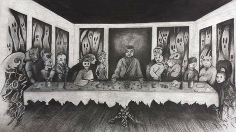 satans last supper custom charcoal drawing by bear elle