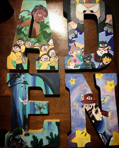 custom rick and morty, south park, zelda and mario original painted letters by bear elle