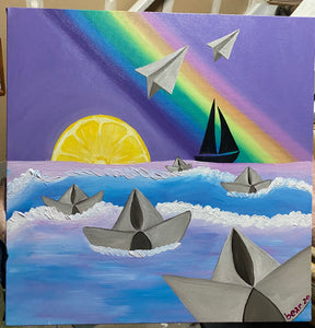 the Voyage to Never Original Acrylic Painting