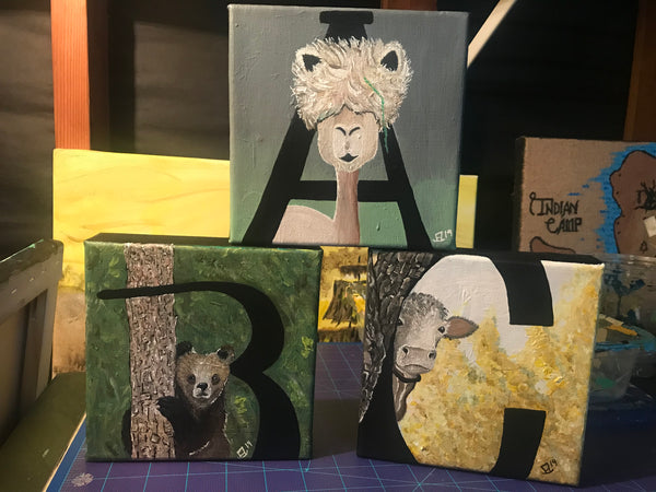 A is for Alpaca Original Acrylic Painting 3 Piece Set