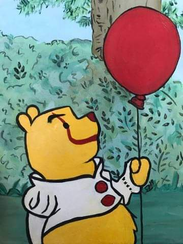 You'll Float Pooh Original Acrylic Painting