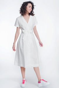 White Poplin Shirt Dress With Belt and Short Sleeve - Shopgoggles