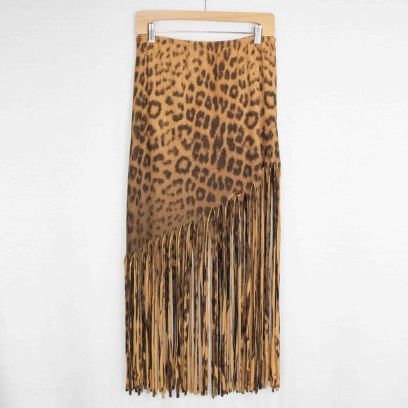 Animal Print Skirt with Fringe - Shopgoggles