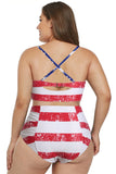 American Flag Strappy Neck High Waist Swimsuit - Shopgoggles