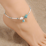 Beach Beaded Starfish Anklet Ankle Bracelet - Shopgoggles
