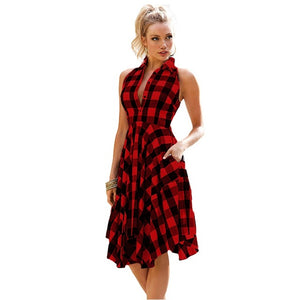 Women's Clothing Flared Plaid Summer Shirtdress Explosions Leisure Vintage Dresses Shirt Dress knee-length Vestidos - Shopgoggles