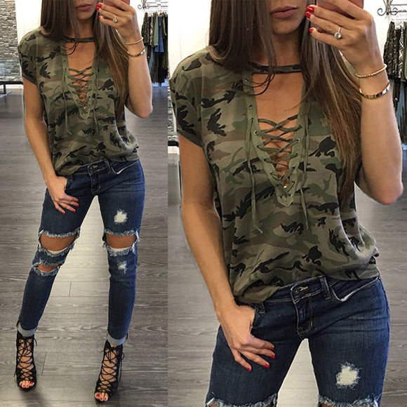 Casual Shirt Camouflage Colorful Tops Fashion Women's Clothing Summer Ladies Short Sleeve Loose Blouse - Shopgoggles