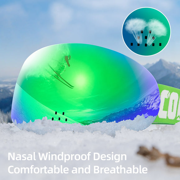 HD Version Magnetic Snow Ski Goggles with Nasal Windproof Double Layers UV400 Anti-fog Snowboard Ski Mask Glasses Men Women - Shopgoggles