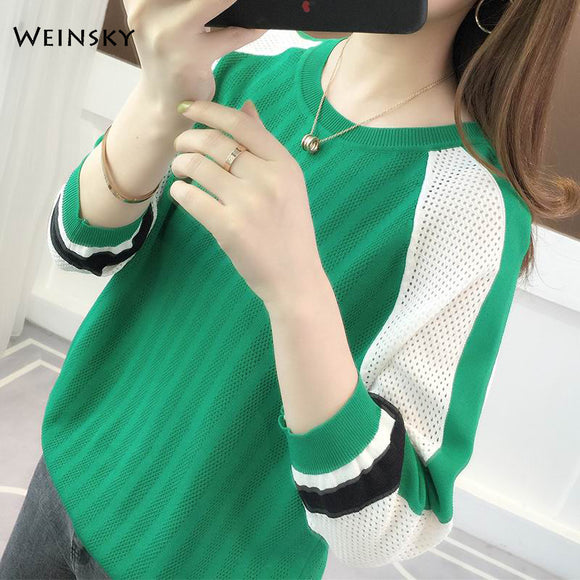 Weinsky Casual Style Women Knitted Sweater Women Tops Three Quarter Sleeve Ladies Fashion Shirt Female Summer 2019 - Shopgoggles