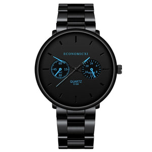 Luxury Quartz Men Watches Blue Pointer Casual Fashion Stainless Steel Strap Clock Gift Business WristWatch Relogio Masculino