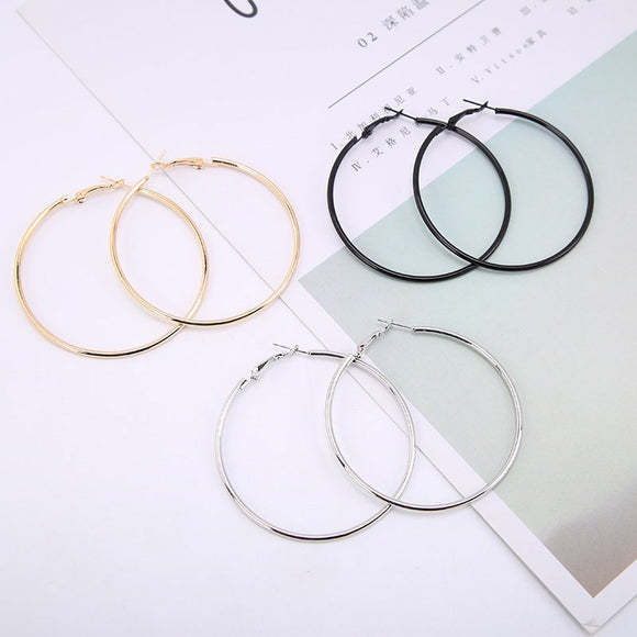 1Pair Fashion Women Girl Trendy Large Hoop Earrings Big Smooth Circle Earrings Brand Loop Earrings Jewelry - Shopgoggles