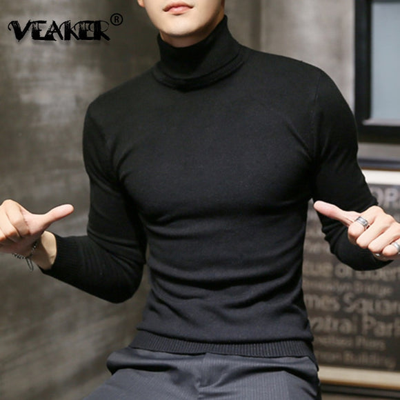 2019 Winter New Men's Turtleneck Sweaters Black Sexy Brand Knitted Pullovers Men Solid Color Casual Male Sweater Autumn Knitwear - Shopgoggles