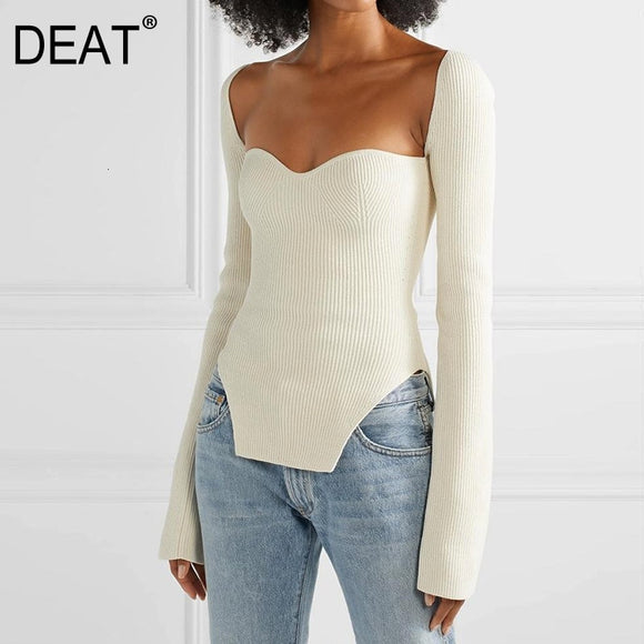DEAT 2020 new spring and summer fashion women clothes cashmere sqaure collar full sleeves elasitc high waist sexy pullover WK080 - Shopgoggles