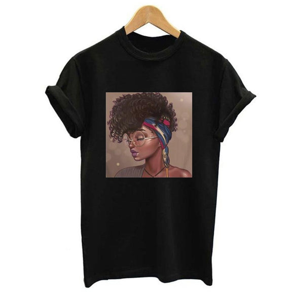 Melanin Female T-shirt Poppin Aba Print Black Girl Aesthetic Harajuku Top Women's Summer Clothing 2019 Vogue T-shirt Femme - Shopgoggles