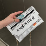 Hot Sale Newspaper Envelope Shoulder Bag PU  Women's Bag Fashion Hand-held Horizontal Clutch Bag 2019 Crossbody Bags For Women - Shopgoggles