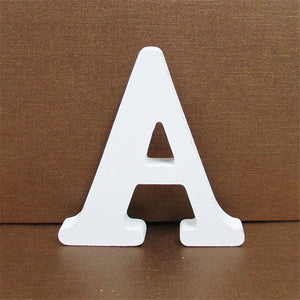 1pc 10CMX10CM White Wooden Letter English Alphabet DIY Personalised Name Design Art Craft Free Standing Heart Wedding Home Decor - Shopgoggles
